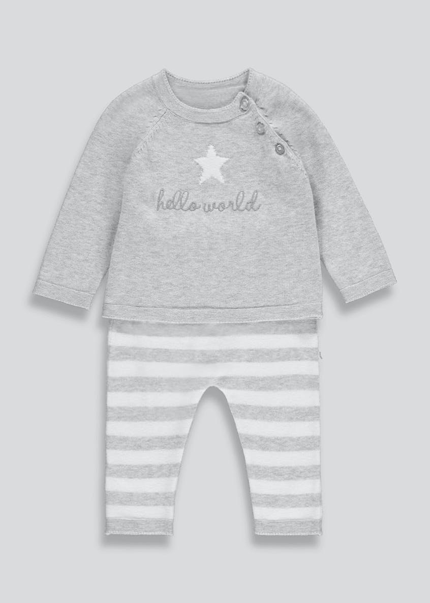 Unisex Hello World Knitted Set (Tiny Baby-18mths)