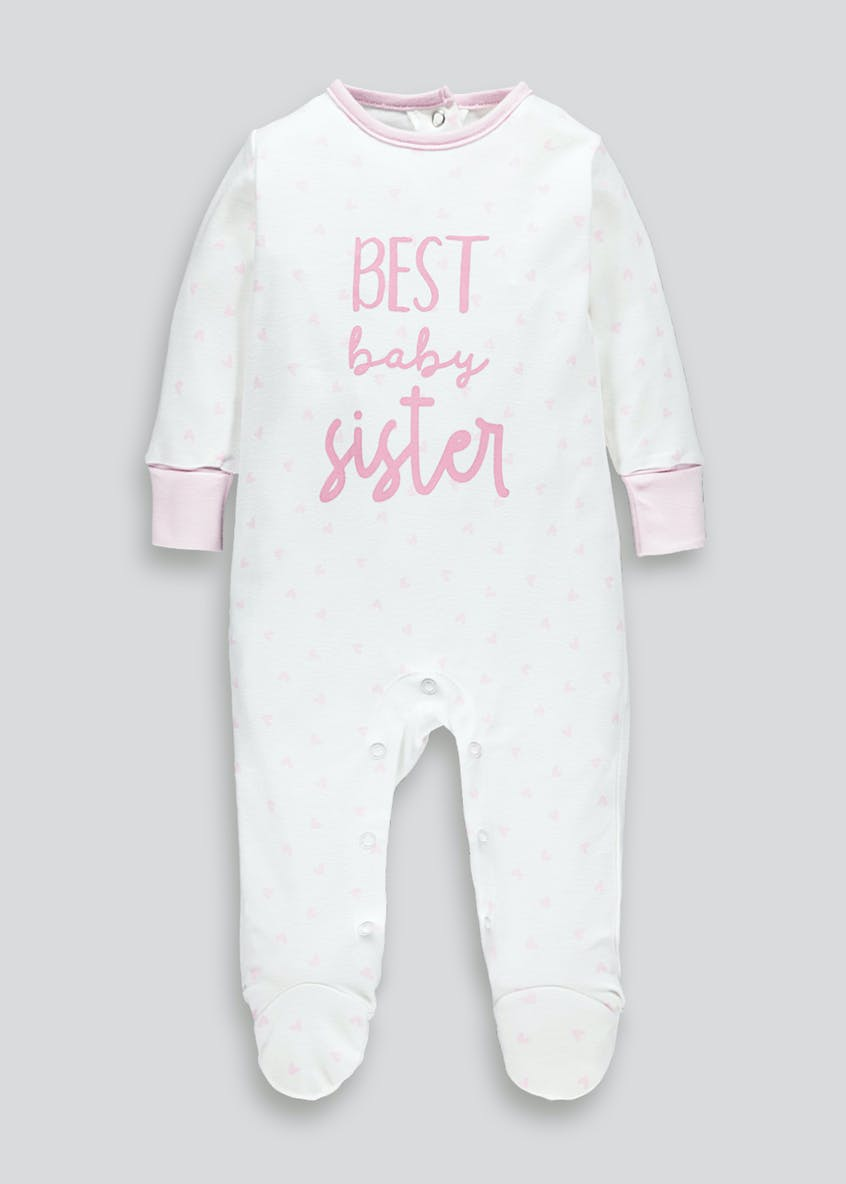 Girls Sister Slogan Baby Grow (Tiny Baby-9mths)