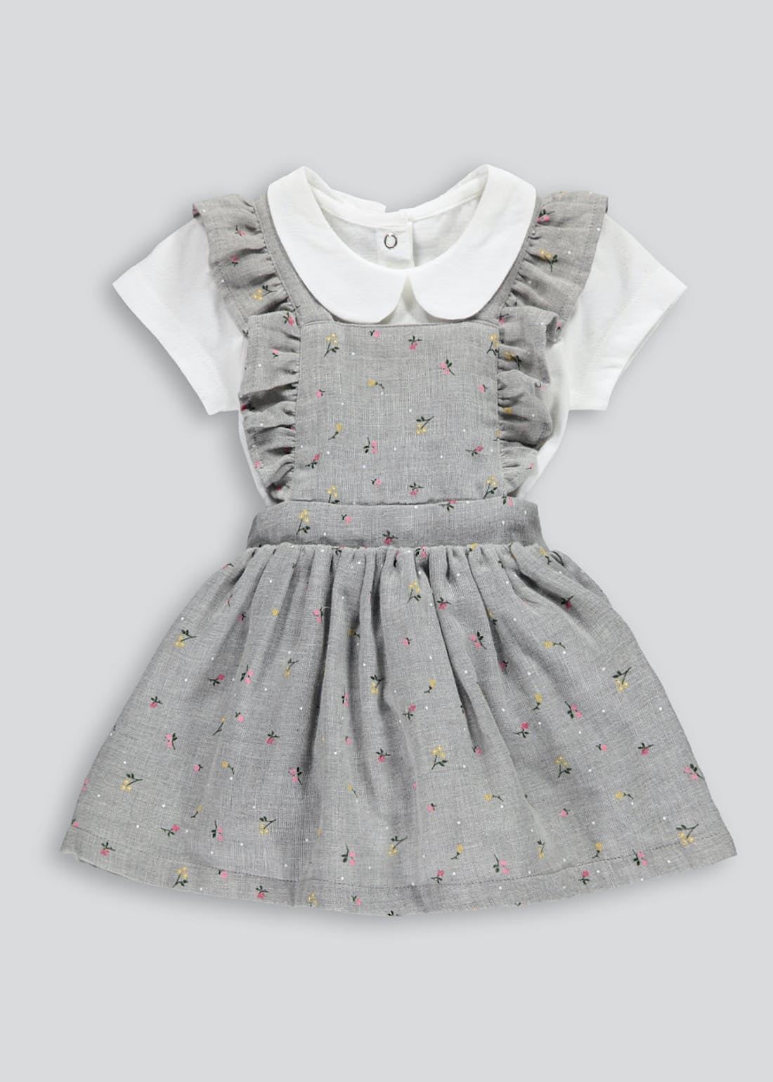 Girls Floral Pinafore Dress & Bodysuit Set (Tiny Baby-18mths)