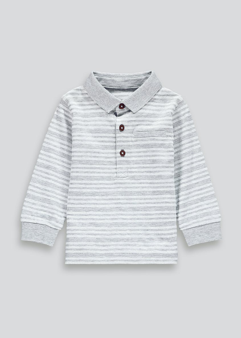 Boys Long Sleeve Textured Stripe Polo Shirt