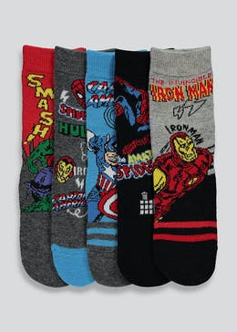 Kids 5 Pack Marvel Socks (Younger Kids 9-Older Kids 8.5)