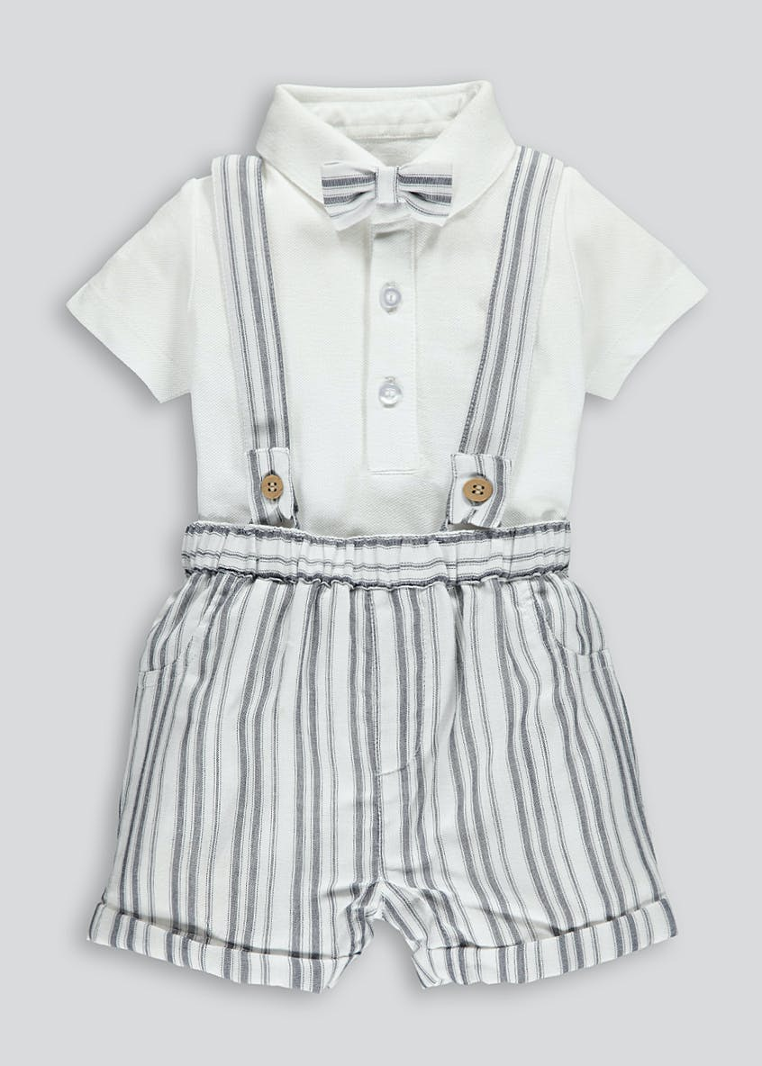 Unisex Shirt Shorts Bow Tie & Braces Set (Tiny Baby-18mths)