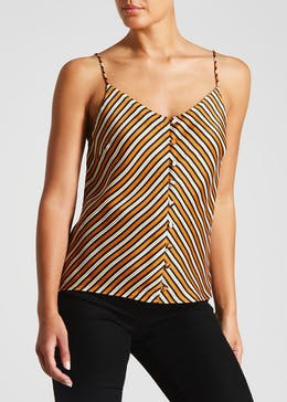 Satin Stripe Button Front Cami