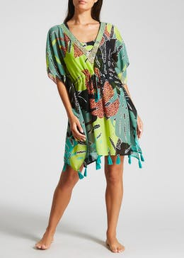 Leaf Animal Print Tassel Kaftan