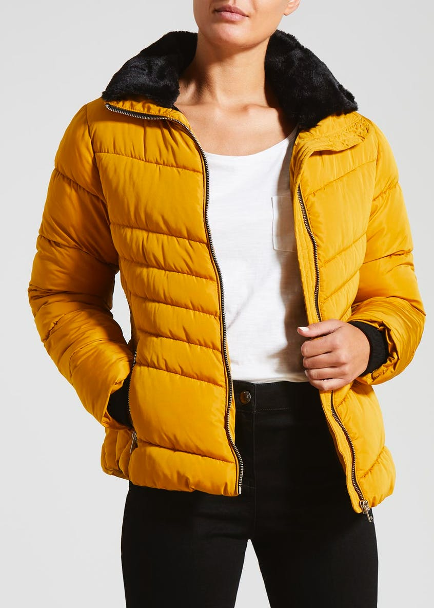 Faux Fur Concealed Hood Short Padded Coat