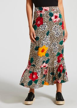 Floral Leopard Print Co-Ord Midi Skirt