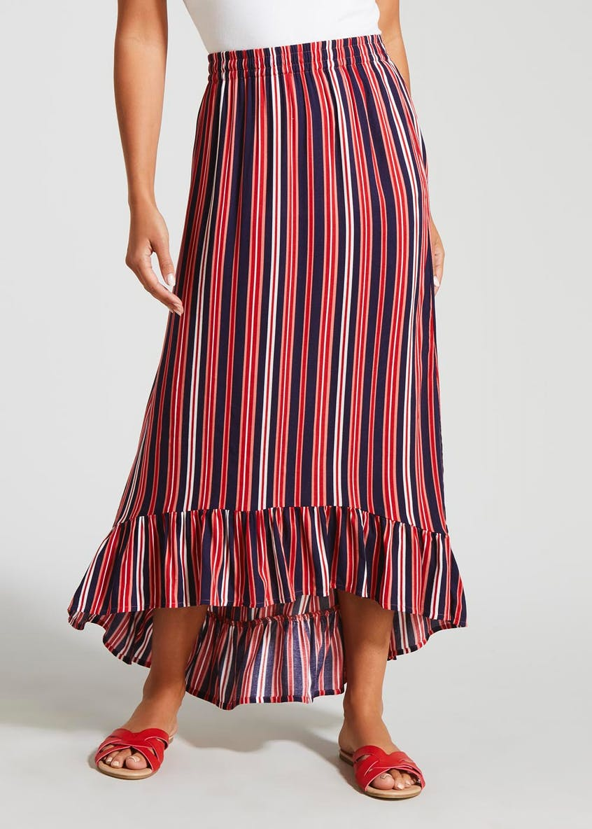 Stripe Peplum Maxi Skirt