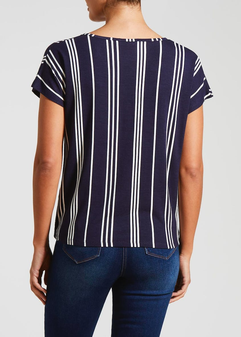 Stripe Button Tie Front T-Shirt