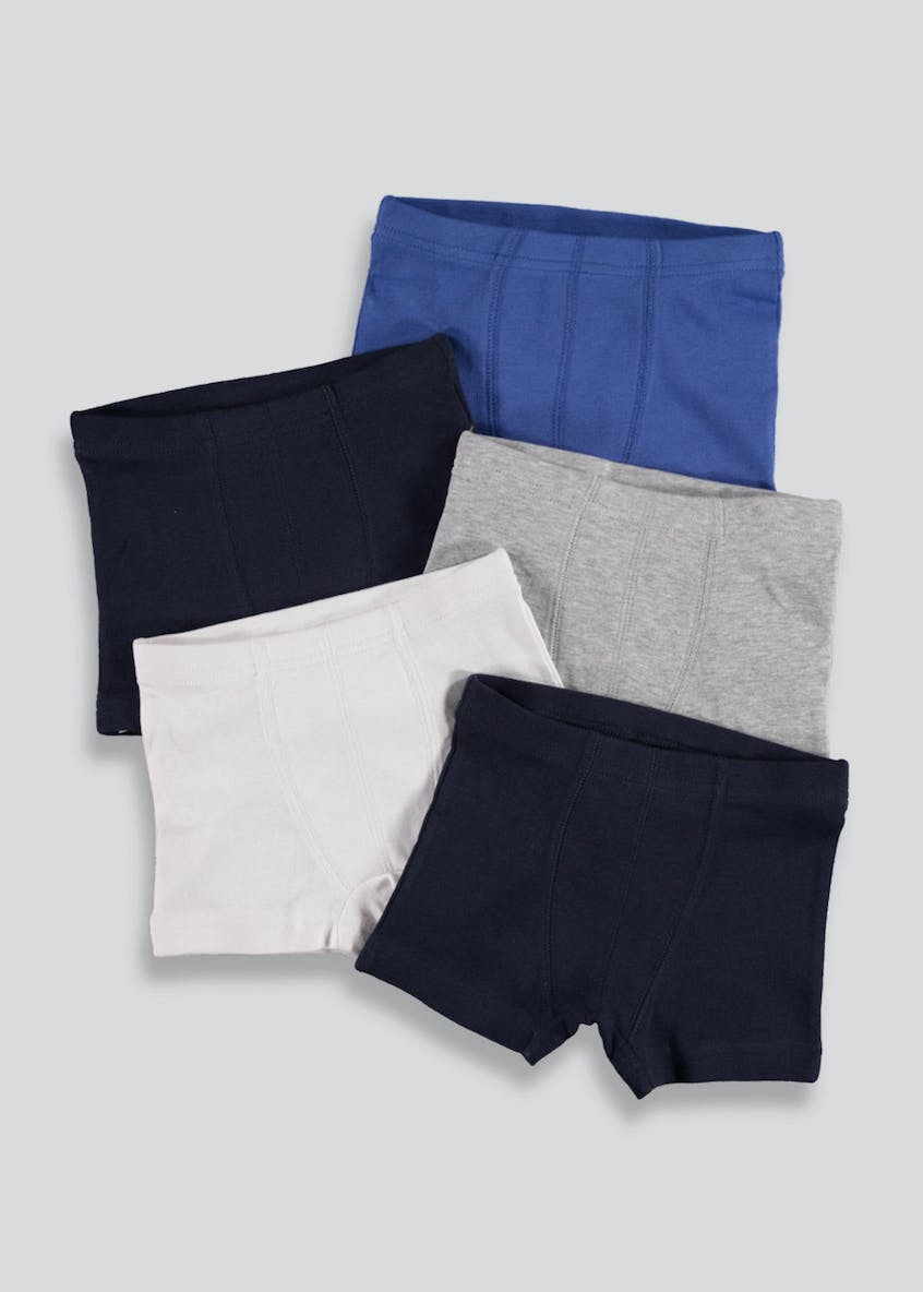 Boys 5 Pack Plain Trunks
