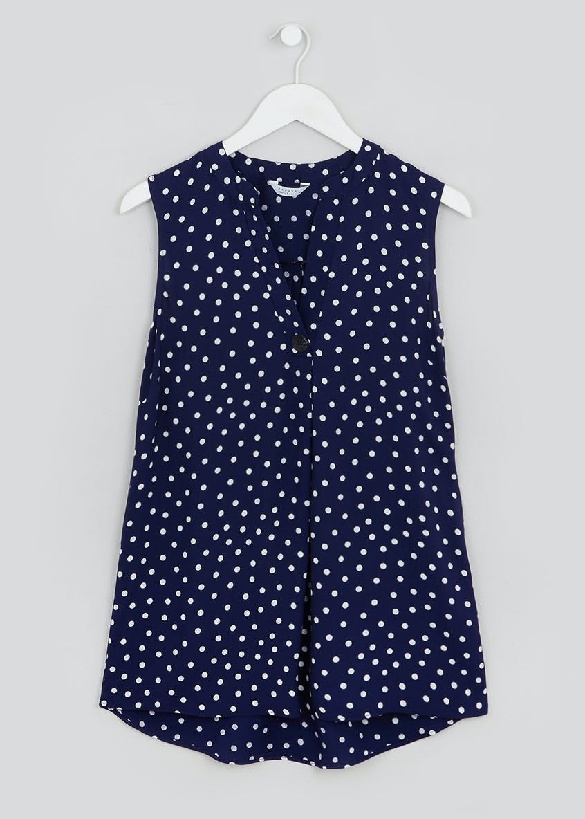 Polka Dot Sleeveless Grandad Collar Blouse