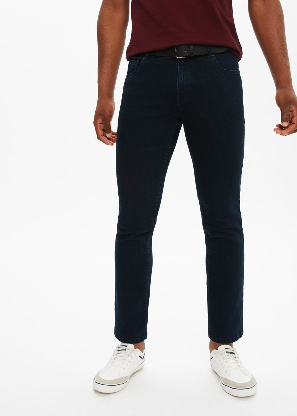 Big & Tall Belted Stretch Slim Fit Jeans – Navy
