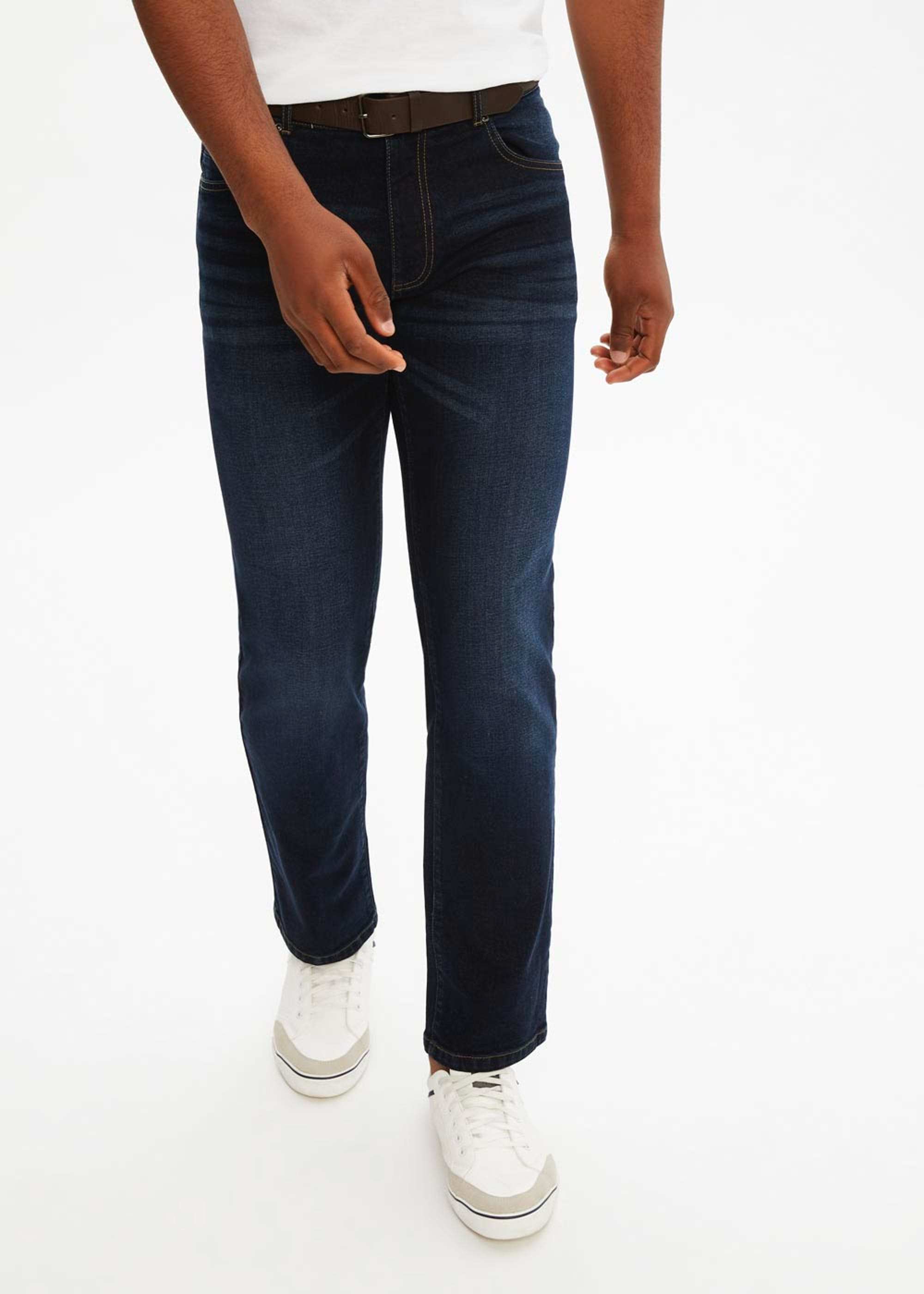Belted Stretch Straight Fit Jeans Indigo vv4Jax