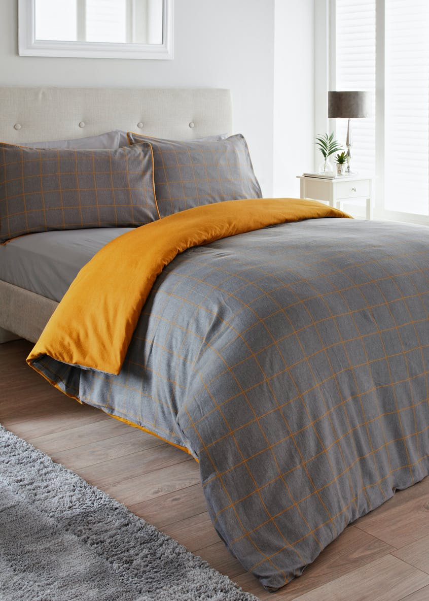 100% Brushed Cotton Check Duvet Cover