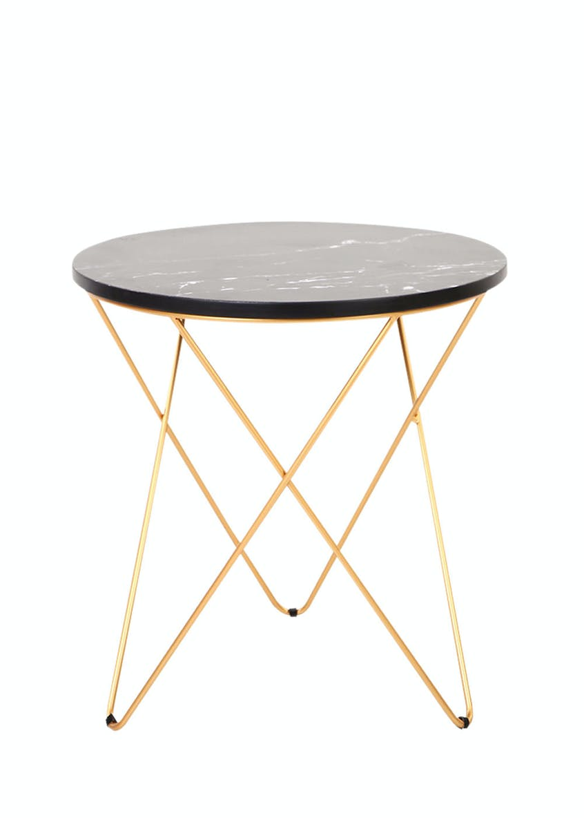 Marble Cross Leg Side Table (H48cm x W45cm)