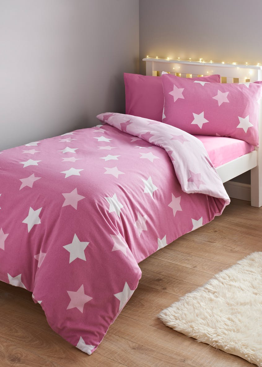 Kids 100% Brushed Cotton Star Flannel Duvet Cover (Single)
