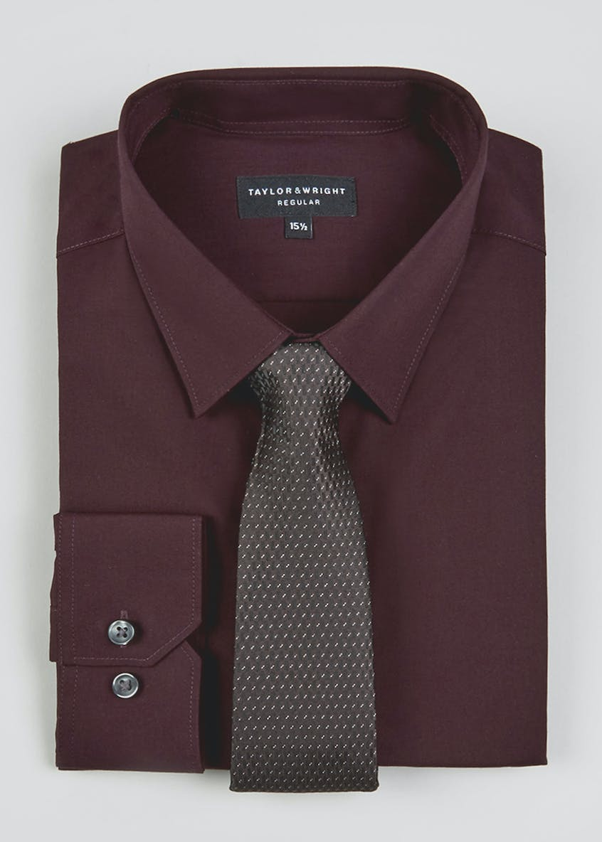 Taylor & Wright Regular Fit Tonic Shirt & Tie Set