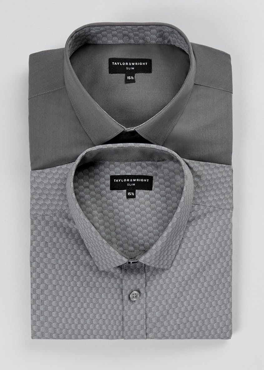 2 Pack Slim Fit Oxford Long Sleeve Shirts