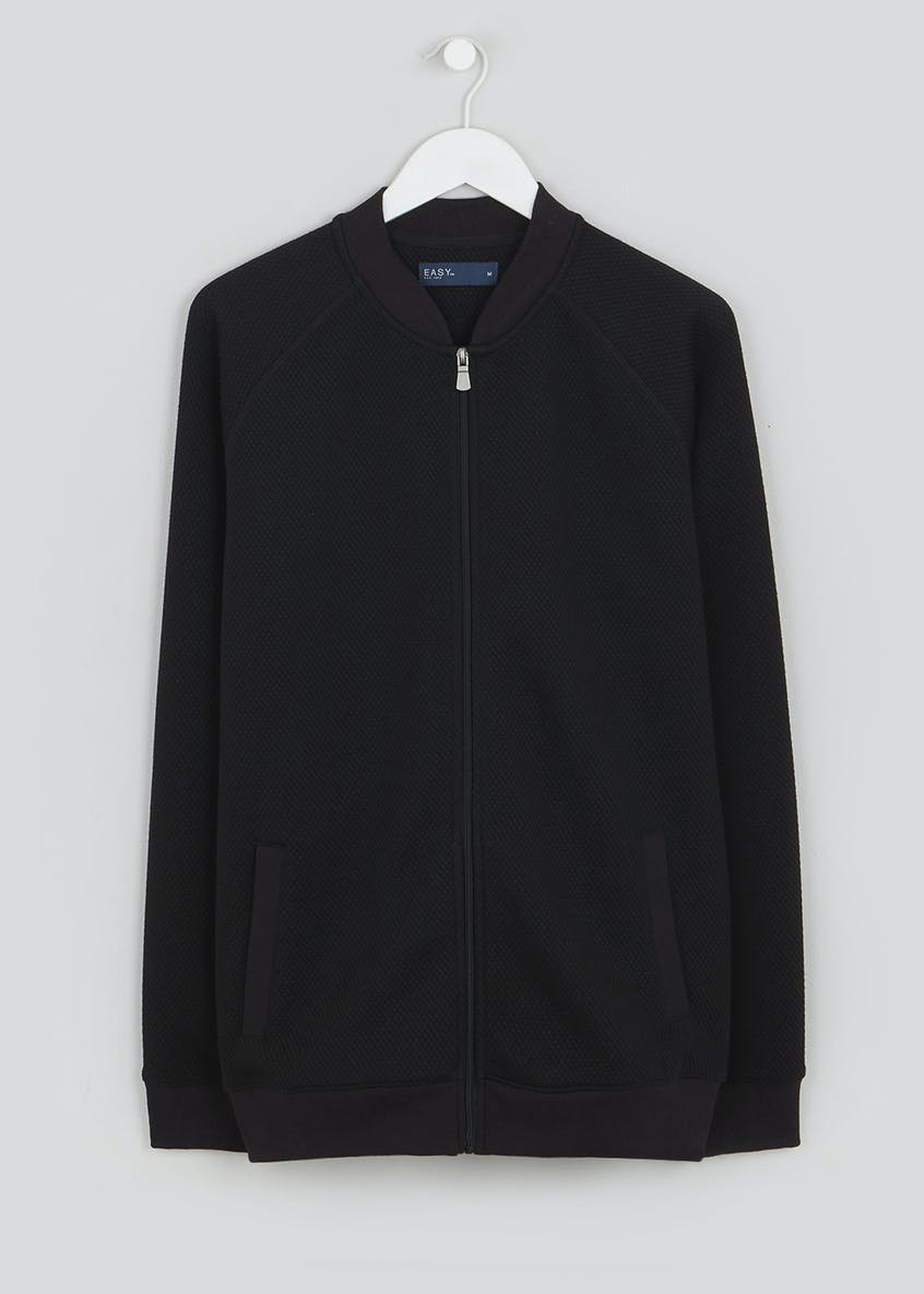 Black Ottoman Quilted Bomber Jacket