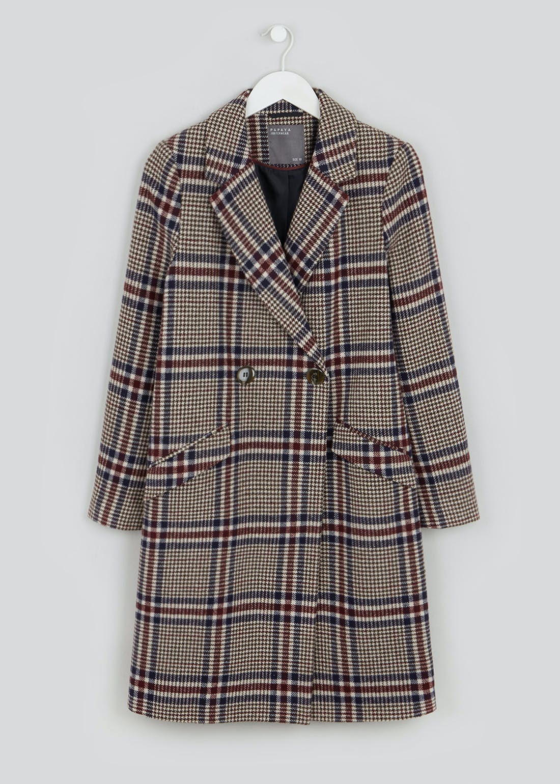 Check Double Breasted Coat