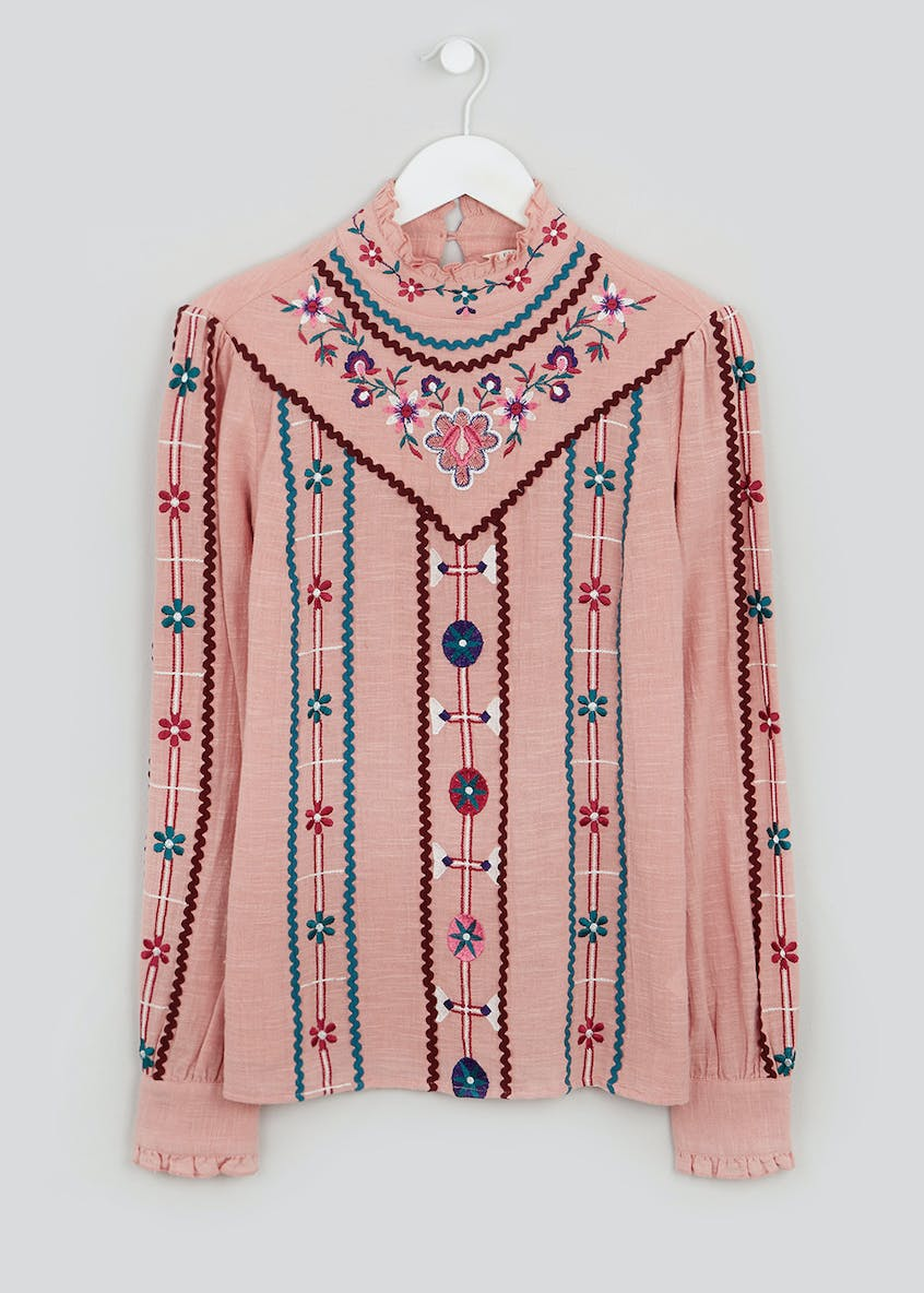 Falmer Embroidered Shirred Blouse