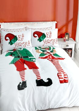 His & Hers Elf Yourself Christmas Duvet Cover