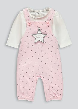 Unisex Star Dungarees & Bodysuit Set (Tiny Baby-18mths)