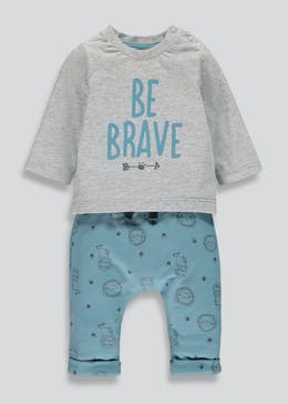 Unisex Be Brave T-Shirt & Jogging Bottoms Set (Newborn-18mths)