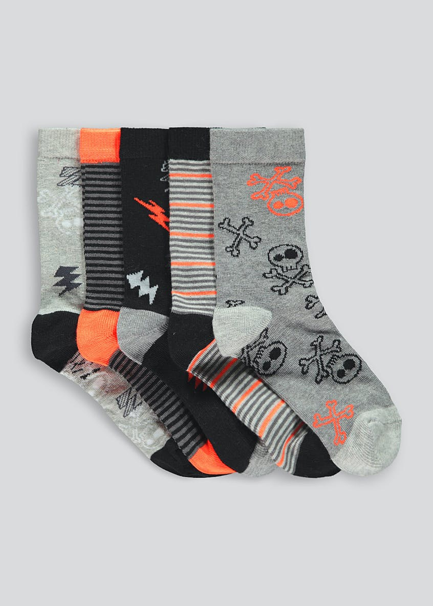 Kids 5 Pack Skull Socks (Younger 6-Older 6.5)