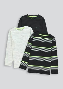 Boys 3 Pack Long Sleeve T Shirts (4-13yrs)
