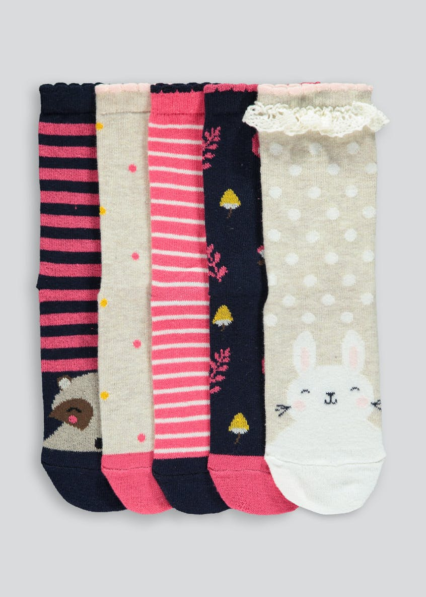 Girls 5 Pack Woodland Socks (Younger 6-Older 5.5)