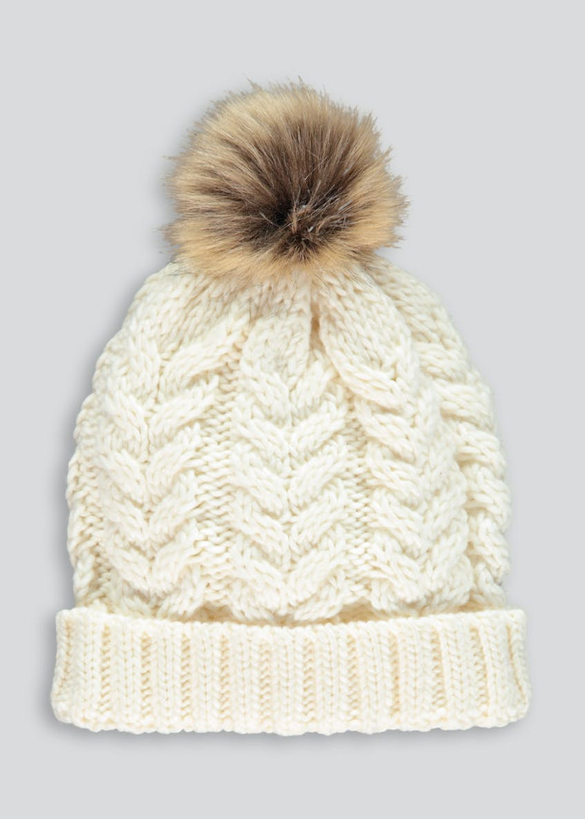 Girls Cable Faux Fur Bobble Hat (7-13yrs)
