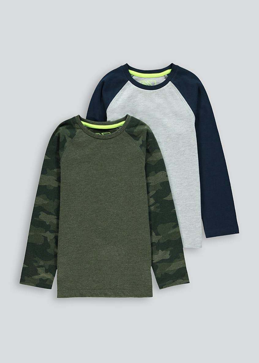 Kids 2 Pack Camo Long Sleeve T-Shirts (4-13yrs)