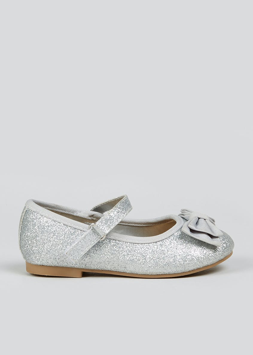 Girls Silver Glitter Bow Ballet Shoes (Younger 4-12)