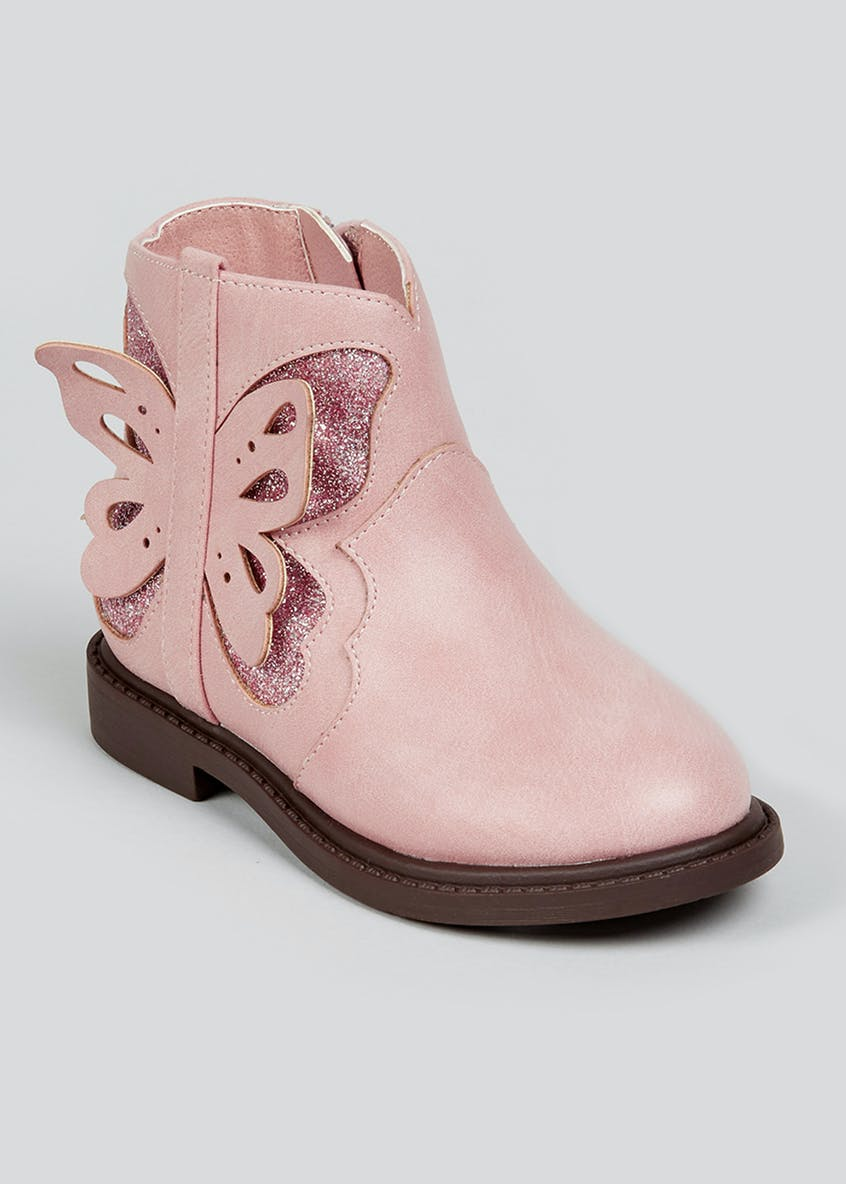 Girls Pink Butterfly Boots (Younger 4-12)