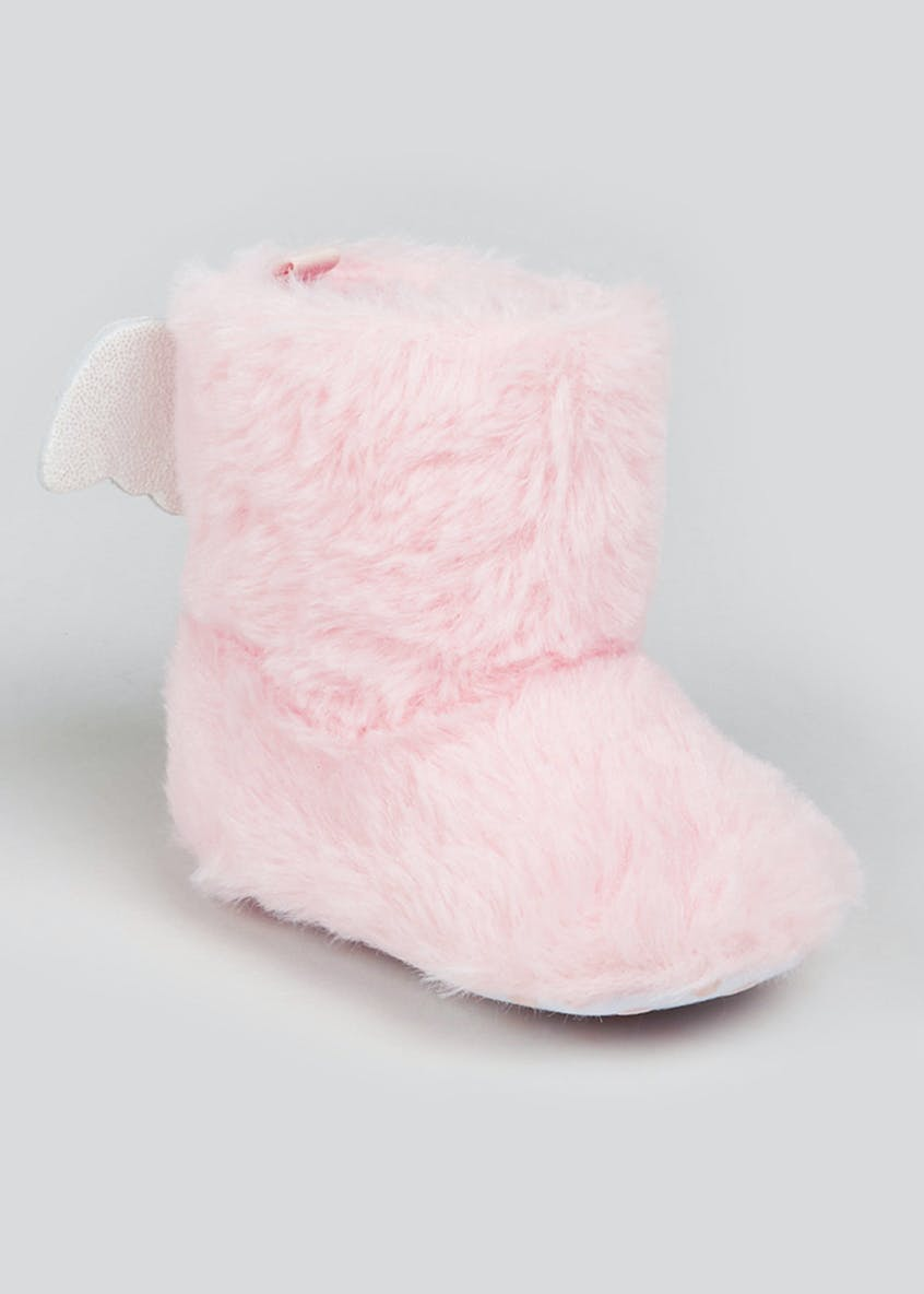Girls Pink Angel Wing Boots (Newborn-18mths)
