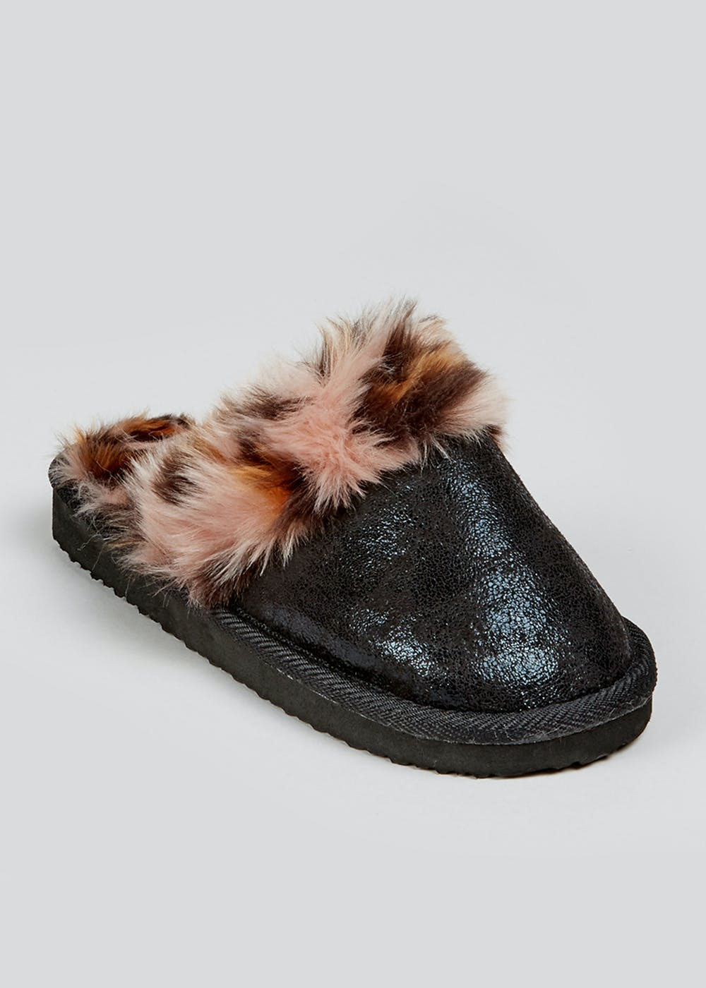 bb63437be40 Girls Leopard Print Faux Fur Mule Slippers (Younger 10-Older 5)