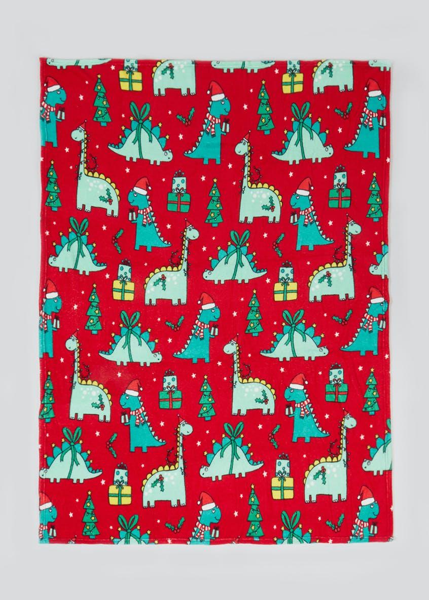 Dinosaur Christmas Fleece Throw Blanket (150cm x 130cm)