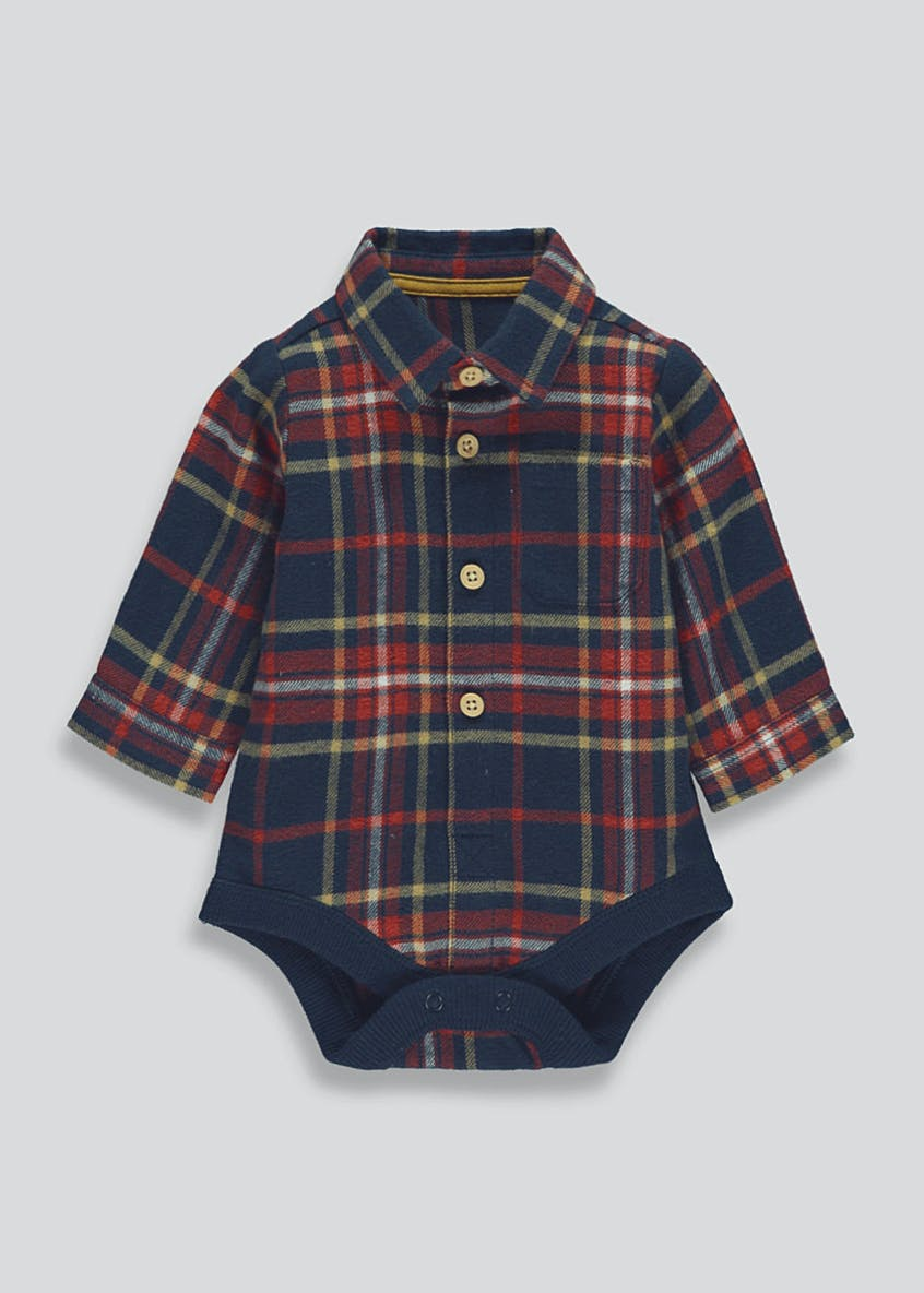 Unisex Brushed Check Shirt Body Suit (Newborn-18mths)