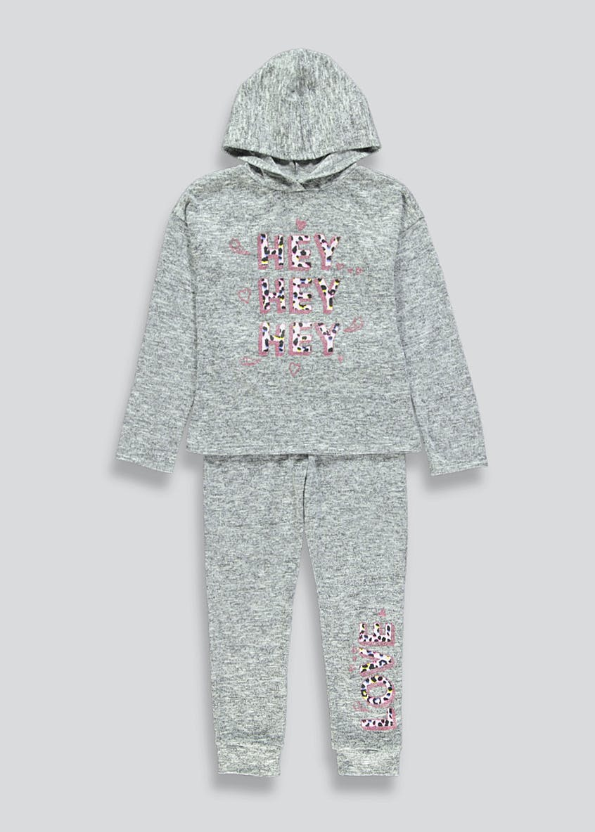 Girls Slogan Hoodie & Jogging Bottoms Set (4-13yrs)