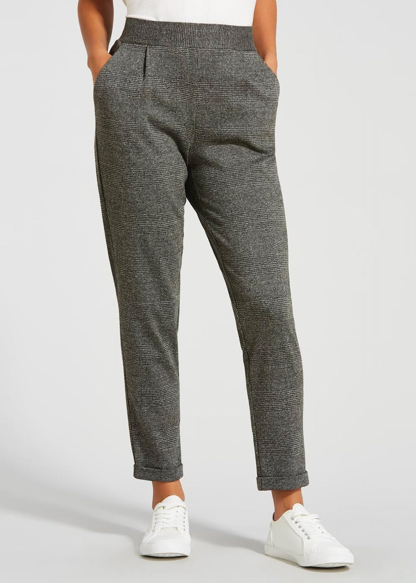 Check Textured Tapered Trousers