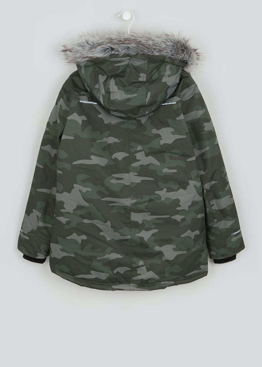 Boys Khaki Camo Parka Jacket (4-13yrs)