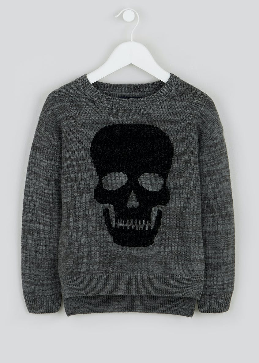 Boys Chenille Skull Knitted Jumper (4-10yrs)