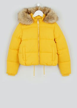 Girls Candy Couture Faux Fur Hood Padded Coat (9-16yrs)