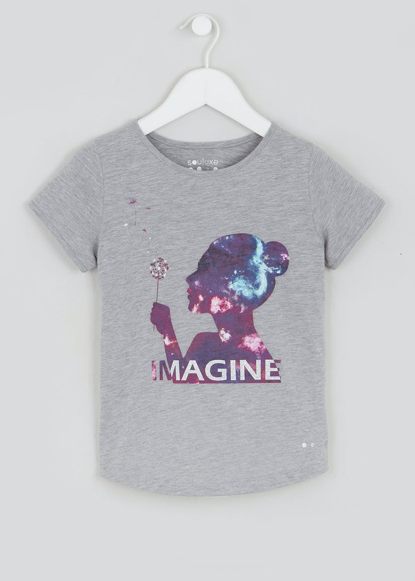 Girls Souluxe Grey Imagine Slogan T-Shirt (4-13yrs)