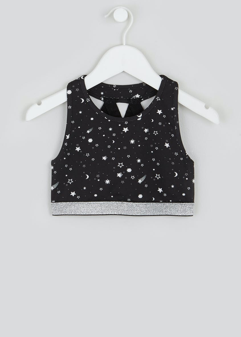 Girls Souluxe Star Print Sports Crop Top (4-13yrs)