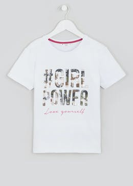 Girls Candy Couture Sequin Girl Power T-Shirt (9-16yrs)