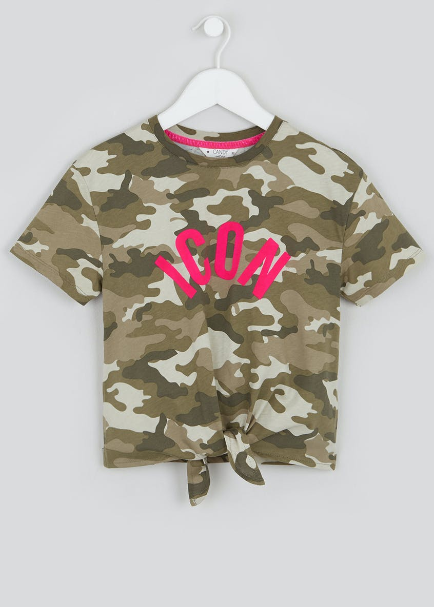 Girls Candy Couture Camo Slogan T-Shirt (9-16yrs)