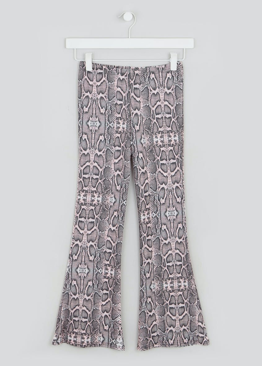 Girls Candy Couture X Snake Print Kick Flare Trousers (9-16yrs)