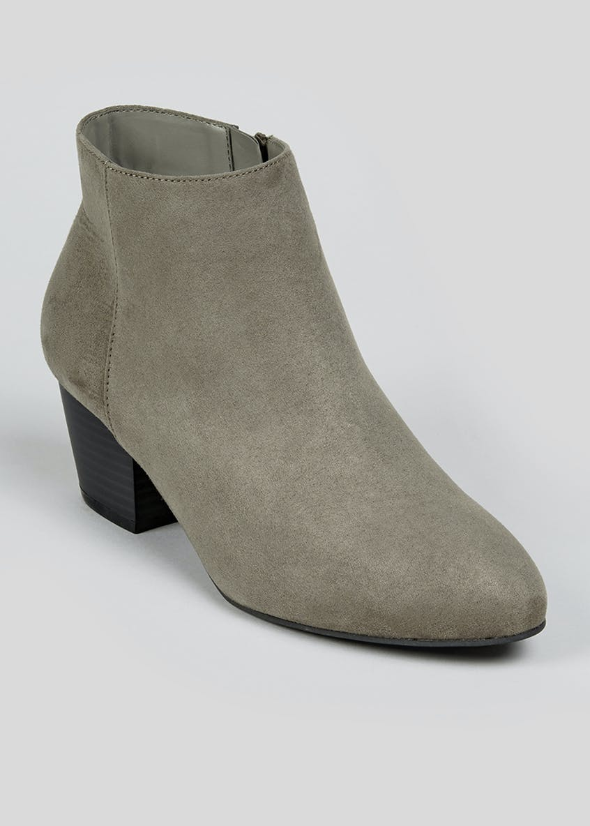 Grey Pointed Ankle Boots