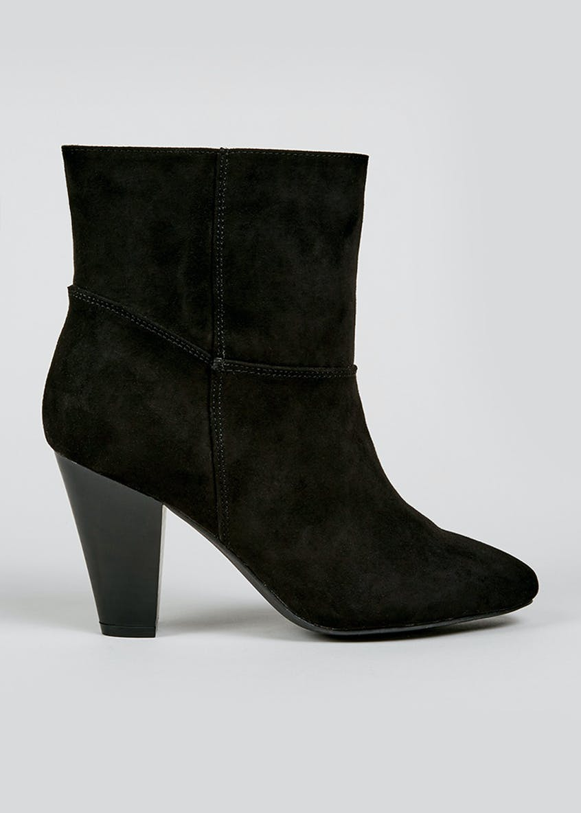 Black Slouch Heeled Ankle Boots